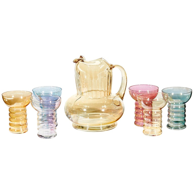 1950s Iridescent Multicolored Glass Beverage Set, 7-Piece For Sale