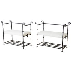 Pair of Neoclassical Style Iron and Linen Benches