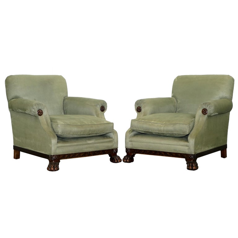We are delighted to offer for sale this stunning early Victorian circa 1860 solid mahogany velvet upholstered Lion Hairy paw feet suite  A very good looking extremely comfortable and decorative suite, the Lion hairy paw feet are based on an early