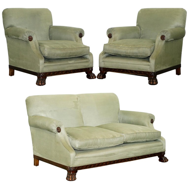 Victorian 1860 Mahogany Sofa Armchair Suite Lion Hairy Paw Feet, 17th Century For Sale