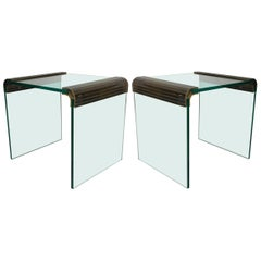 Pair of Brass and Glass Side Tables by Pace
