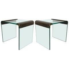 Paar aus Messing und Glas Beistelltische von Tempo
