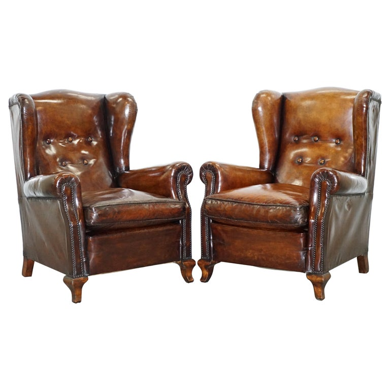 Groovy Pair Of Restored Victorian Wingback Whisky Brown Leather Armchairs Feather Seats Machost Co Dining Chair Design Ideas Machostcouk