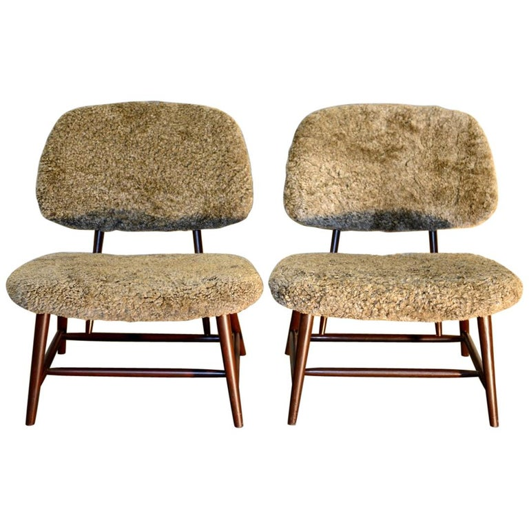 Pair of 'TeVe' Lounge Chairs by Alf Svensson, Ljungs Industrier Sweden For Sale