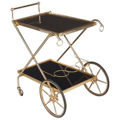 French Brass Bar Cart, 1970s
