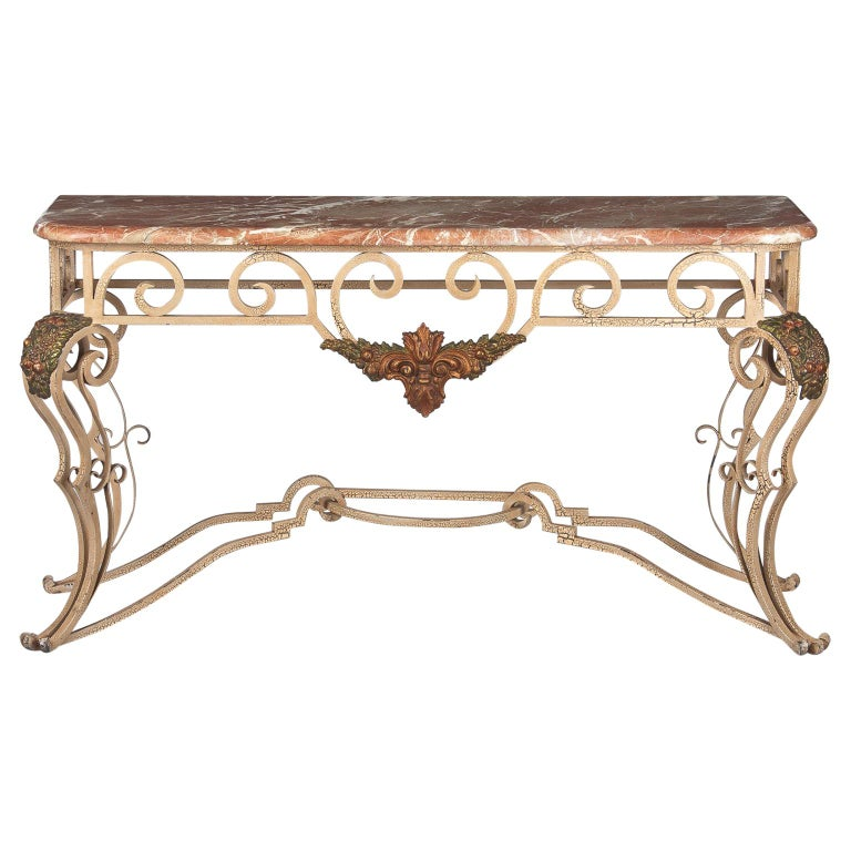 French Wrought Iron Console with Marble Top, 1950s For Sale