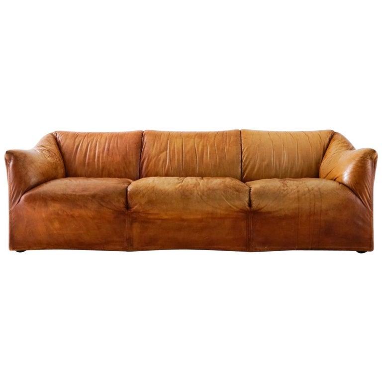 Aged Cognac Leather Tentazione Three-Seat Sofa by Mario Bellini for Cassina For Sale
