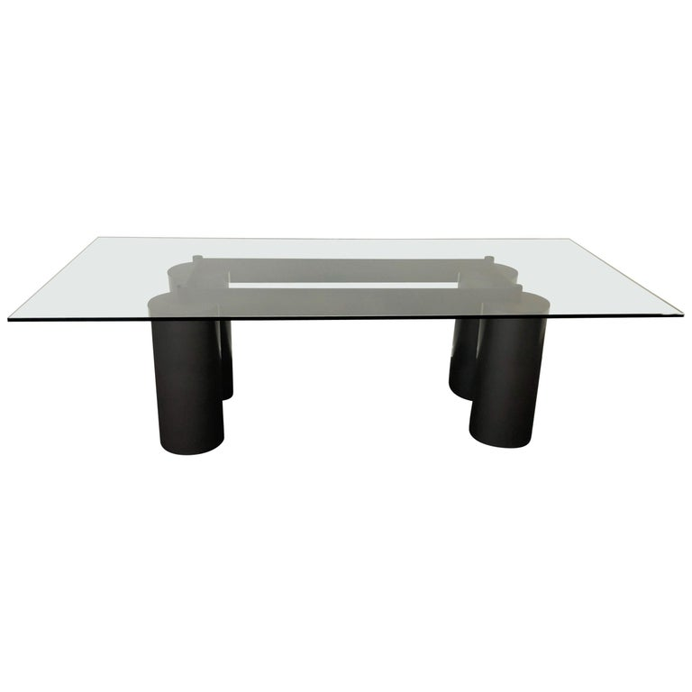 Italian Glass and Steel Dining Table by Vignelli for Acerbis For Sale