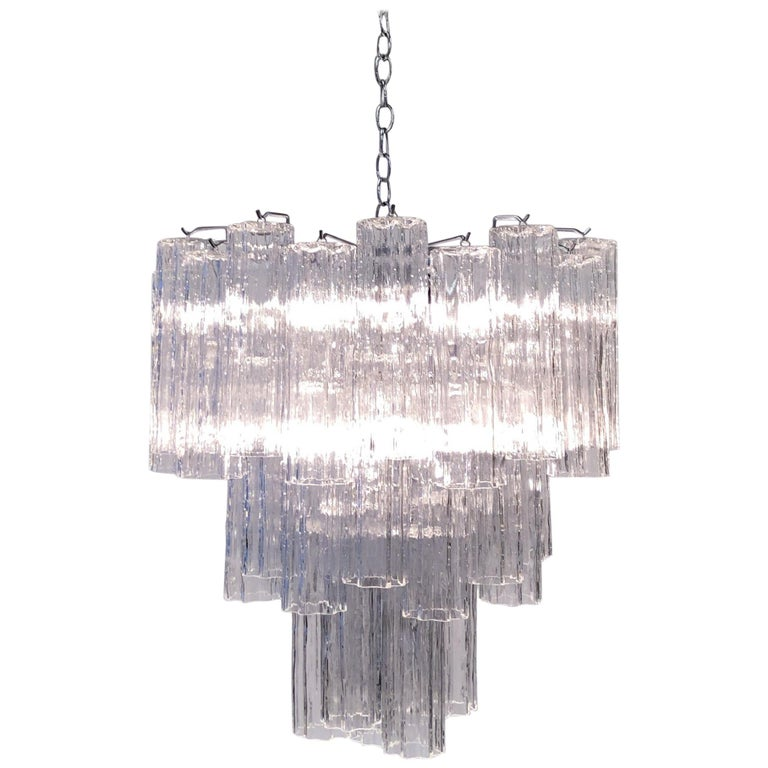 Italian Clear Murano Glass Chandelier by Venini For Sale