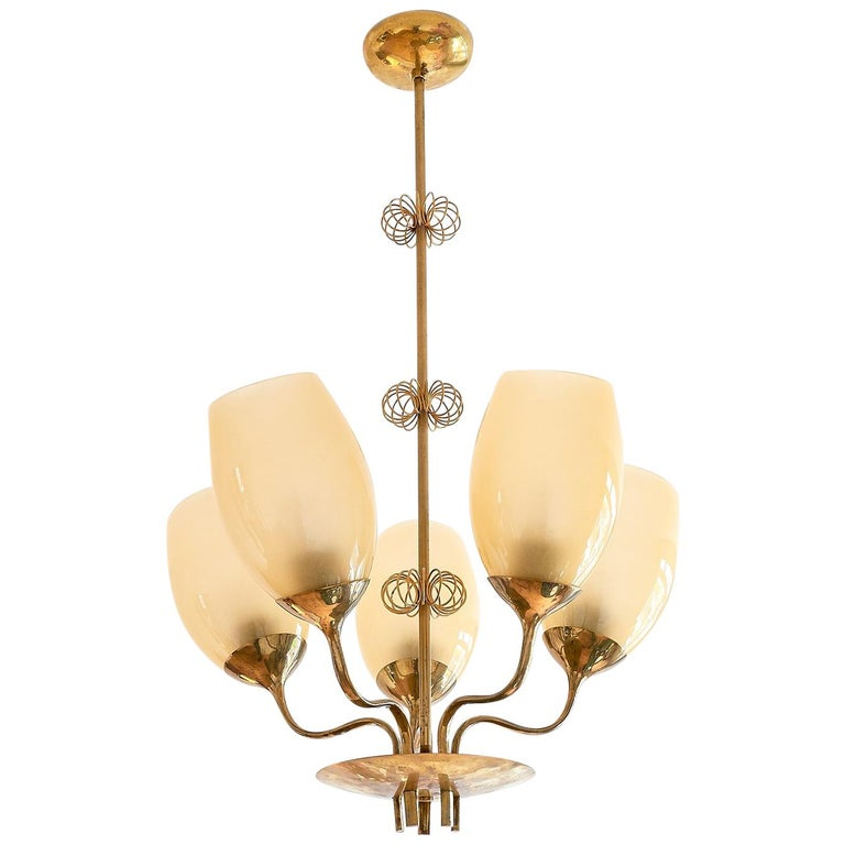 Paavo Tynell Five Arm Brass Chandelier Designed for Kuopio Hospital, Taito, 1949 For Sale