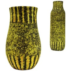 Italian Midcentury Yellow and Black Ceramic Vase, 1950s, Set of 2