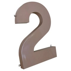 1960s Vintage Italian Number 2 in Metal Painted in Light Brown from a Sign