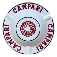 1970s Vintage Advertising Campari Soda Milano Ashtray in White and Red Ceramic