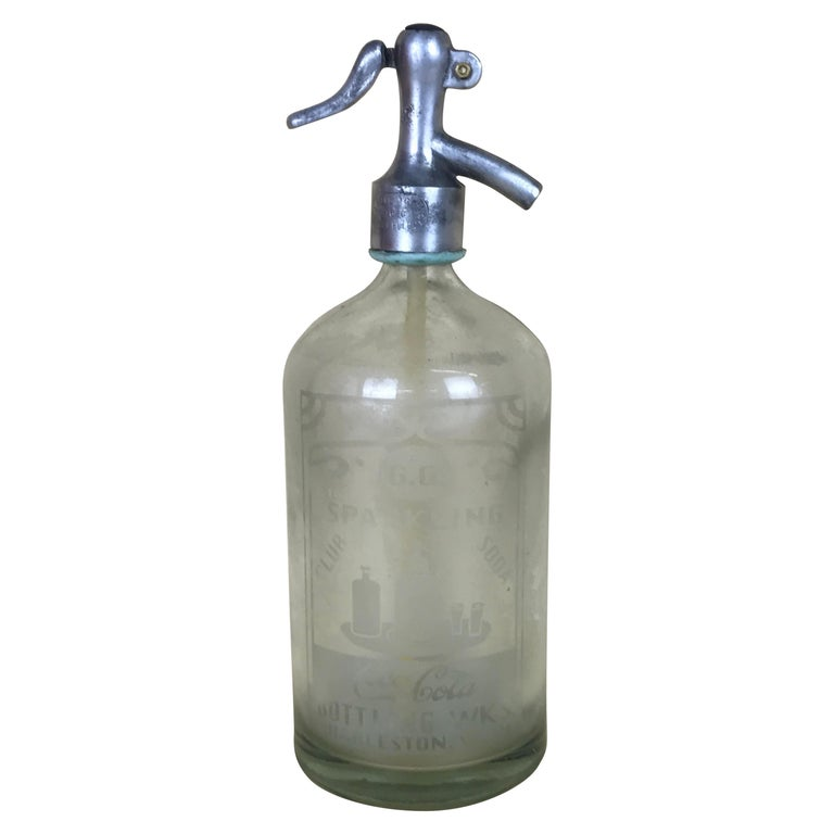 1920s American Advertising Glass Syphon Coca-Cola Acid Etched Bar Bottle Seltzer For Sale