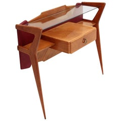 Italian Midcentury console with glass top, 1950s