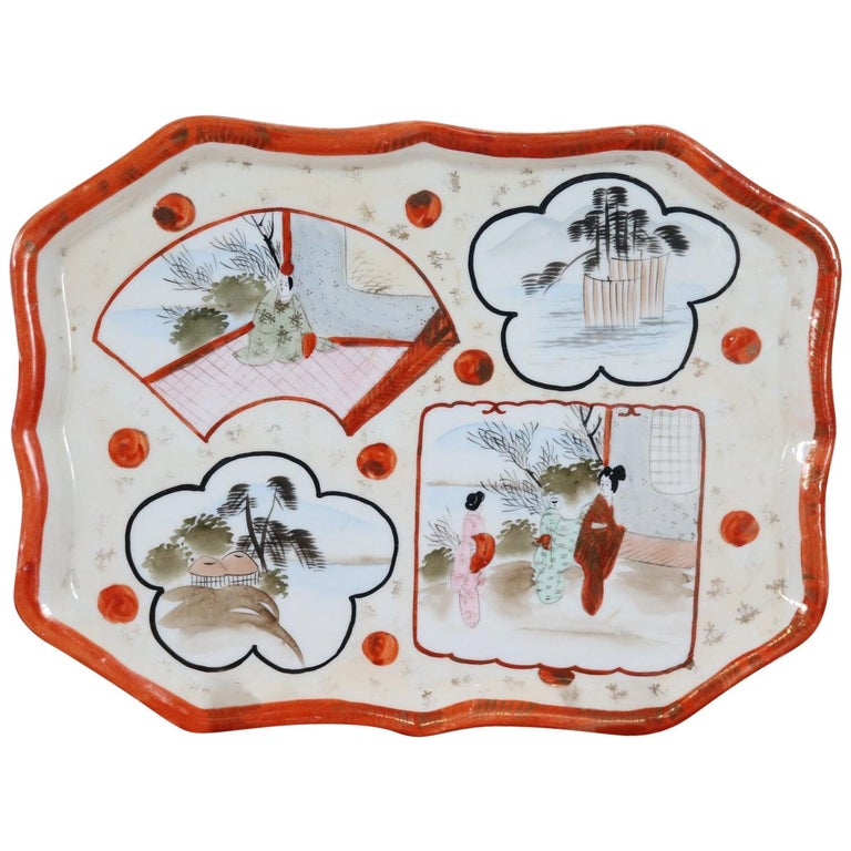 20th Century Chinese Hand Painted Ceramic Plate or Tray For Sale
