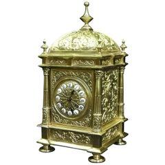 French Belle Époque Decorative Brass Mantel Clock