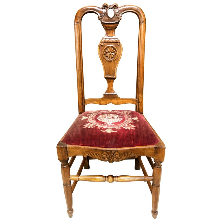Authentic High Back Carved Walnut Wood Side Chair Velvet Seat, France For Sale