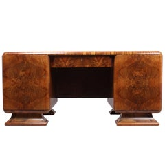 Art Deco Walnut Desk, circa 1930