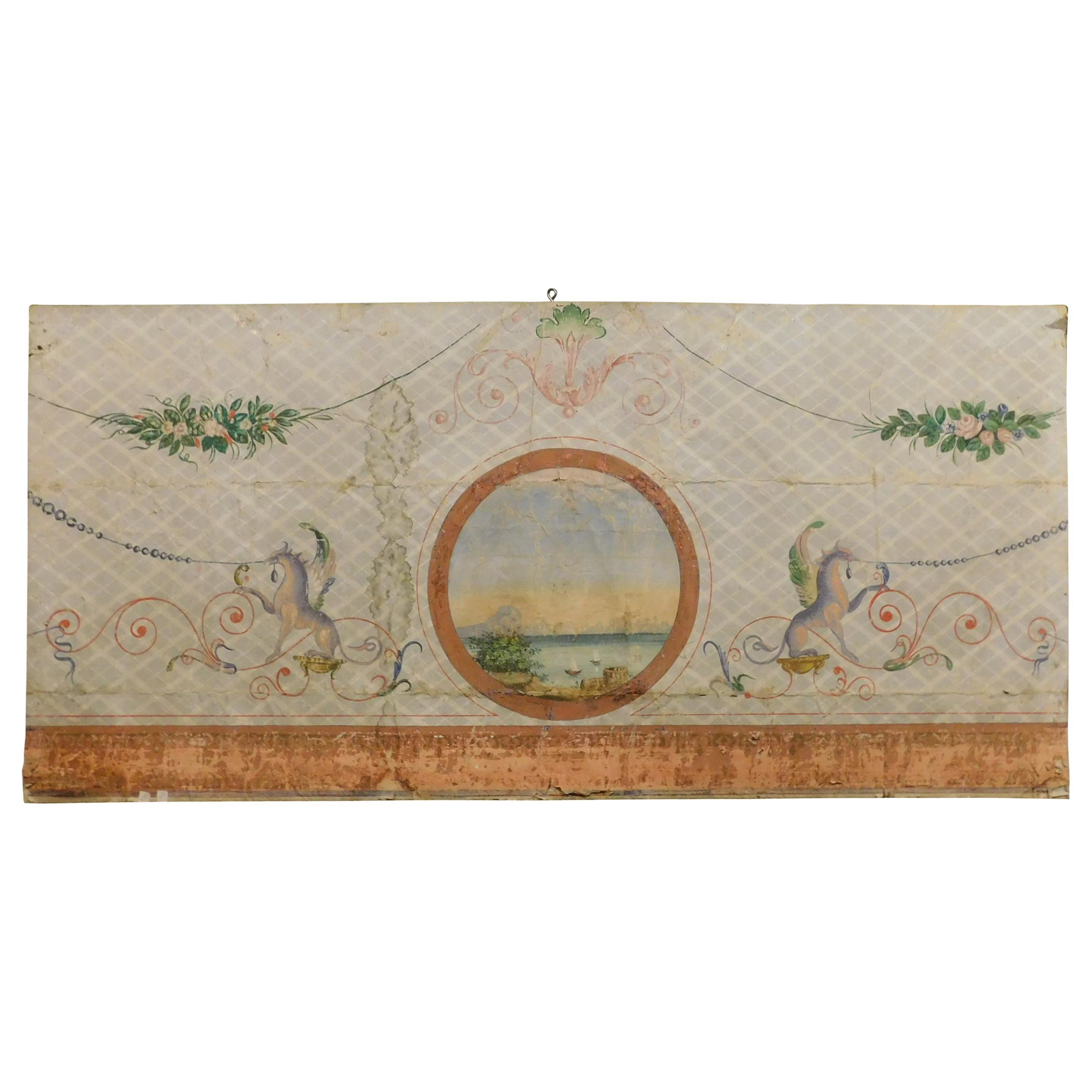 19th Century Antique Decorative Panel on Paper