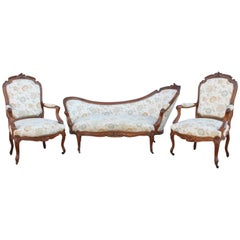 Napoleon III Set Two Armchairs and a Chaise Longue in Walnut