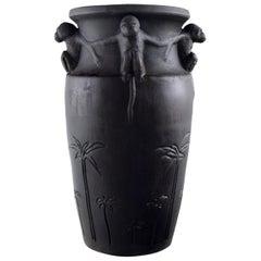 Rare Hjorth, Denmark Art Nouveau Ceramic Vase with Monkeys, circa 1890s