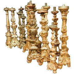 18th Century Antiques Candelabra in Gilded Wood