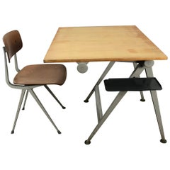 Wim Rietveld & Friso Kramer Architectural Drafting Table and Chair, Ahrend, 1958
