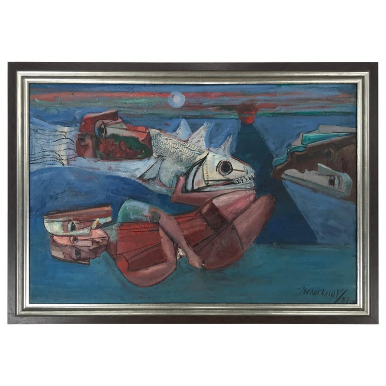 Modernist Abstract Oil on Canvas by Nahum Tschacbasov, 1951 For Sale