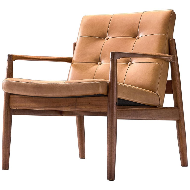 Danish Armchair in Cognac Leather For Sale