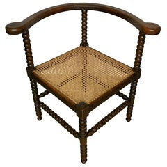 Antique Dutch Oak Corner Chair with Cane Seat, 1900s