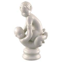 Rare Dahl Jensen Figure, Blanc de Chine, Faun Sitting on Baby