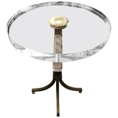 Charles Hollis Jones Hollywood Regency Lucite and Brass Table
