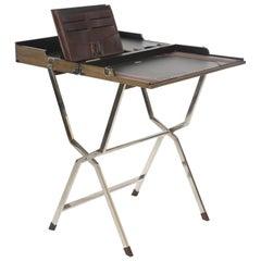 Travel Foldable Writing Desk Table Leather Nickel Mahogany