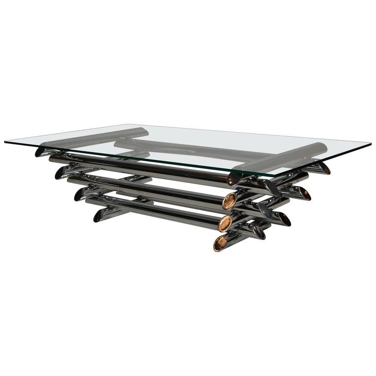 Tubular Chrome Coffee Table: Mid-Century Modern Chrome Tubular Stacked Coffee Table Or