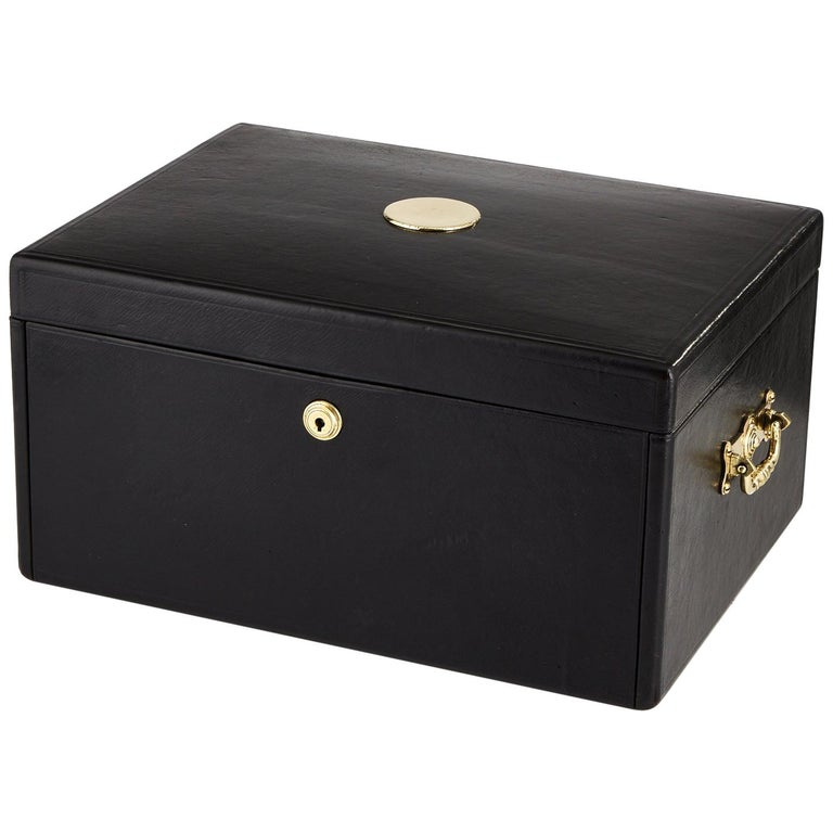 Early 20th Century Black Leather Document Box, circa 1910 For Sale