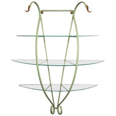 Italian Zanotta Green Steel Wall Decoration with Glass Shelves, Limited Edition
