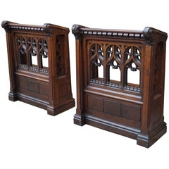 Pair of Hand Carved Gothic Revival Oak Church Lectern Desks with Bookshelf
