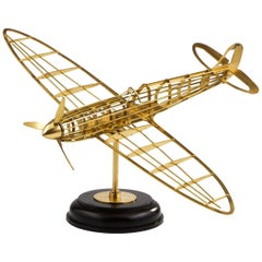 Skeletal Brass Model of a WW II Spitfire Aircraft Made, circa 1950