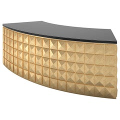 Curved Design Desk with Gold Leaf and Piano Lacquer Diamond Pattern
