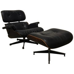 1956, Ray & Charles Eames, Miller, 1st Version Lounge Chair 1956, Ottoman 1966