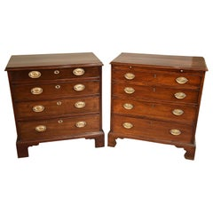 Matching Pair of George III Mahogany Chest of Drawers