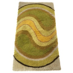 Psychedelic Vintage 1970s Modernist High Pile Op Art Carpet Rug, Germany, 1970s