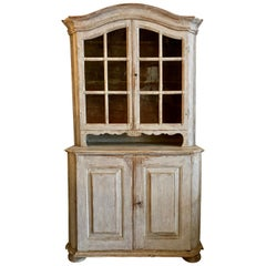 Swedish 18th Century Rococo Period Vitrine Cabinet
