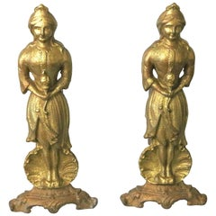 1800s Figural Pair of Gilt Iron Andirons 'American Lady Liberty'