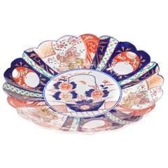 Large Antique Scalloped Edge Japanese Imari Porcelain Dish