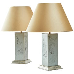 Pair of Chinese Square Porcelain Lamps with Grisaille Decoration, 19th Century