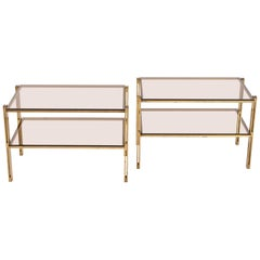 Pair of Osvaldo Borsani Hammered Brass and Fumé Glass Side Tables, circa 1958