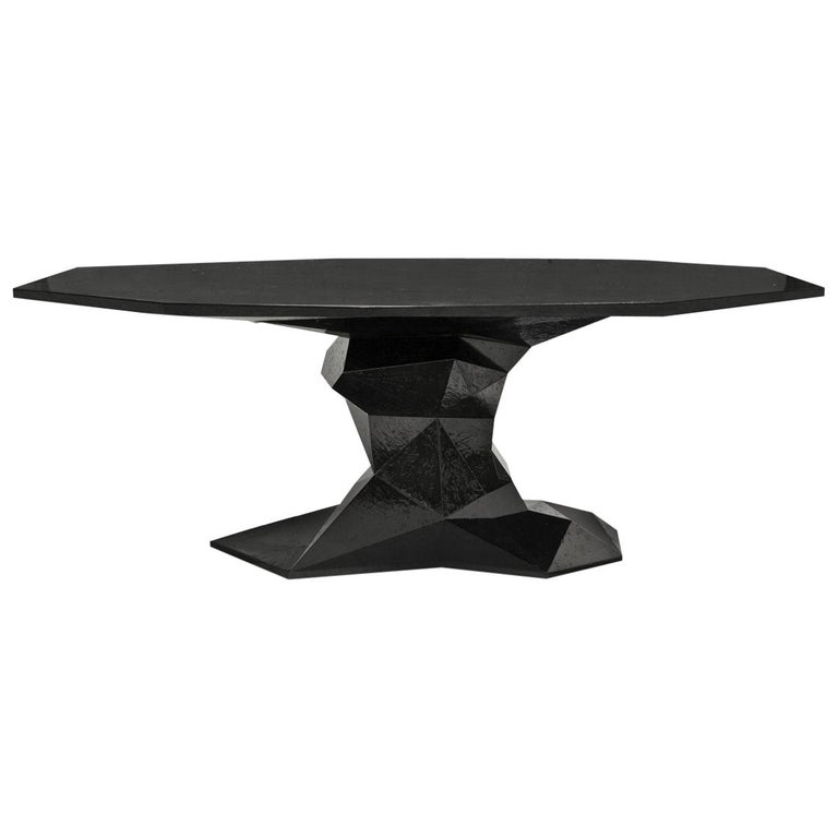 Jungle Black Dining Table Glossy Black Lacquered Wood For Sale