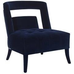 Mahal Armchair with Blue Velvet Fabric